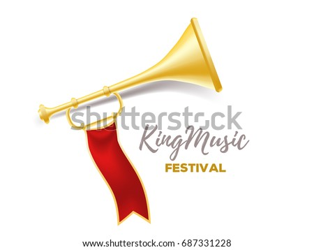 announcement of a music festival concept realistic vector illustration of shiny golden metal trumpet with
