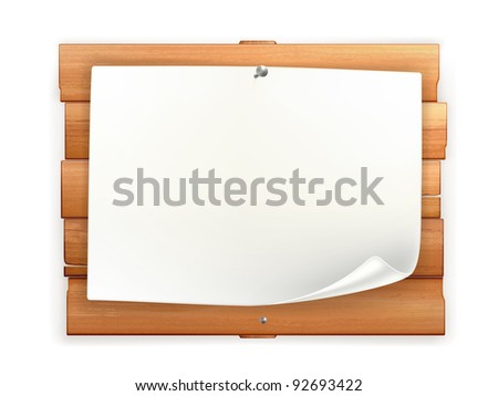 Announcement on wooden board, 10eps - stock vector