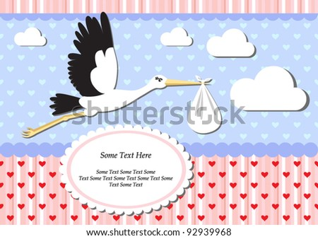 Announcement or congratulation card with a stork carrying a baby. - stock vector