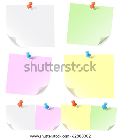 Announcements on pieces of paper pinned of push pins - stock vector