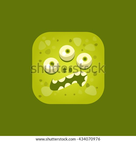 Annoyed Green Monster Emoji Icon. Creative Vector Emoticon Alien Monster Face. Cartoon Monster Character Square Button Drawing. - stock vector