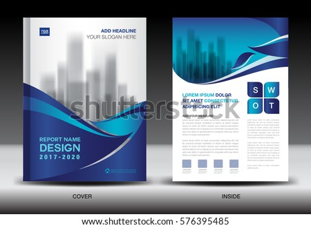 brochure for web design company - annual report brochure flyer template blue stock vector