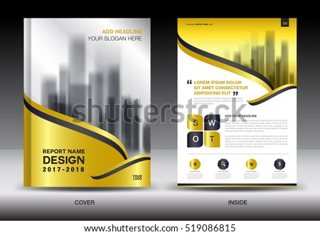 Annual Report Brochure Flyer Template, Gold Cover Design, Business  Advertisement, Magazine Ads,  Advertising Brochure Template
