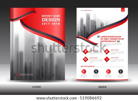 annual report brochure flyer template redのベクター画像素材