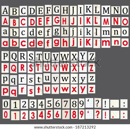 Anonymous alphabet and numbers. Letters cut from newspapers isolated on grey background. Vector set. - stock vector