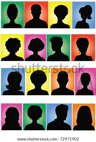 Anonymous colorful mugshots - stock vector