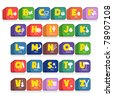 Another cube of 26 alphabet along with the initial objects. Suitable for children poster or toys - stock photo