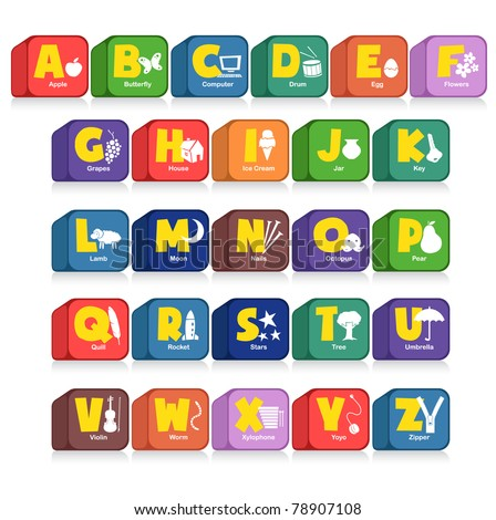 Another cube of 26 alphabet along with the initial objects. Suitable for children poster or toys - stock vector