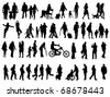 Another over fifty people black silhouettes on white background. Vector illustration. Walking families, friends, dancers,children and guys. - stock photo
