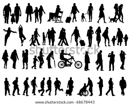 Another over fifty people black silhouettes on white background. Vector illustration. Walking families, friends, dancers,children and guys. - stock vector