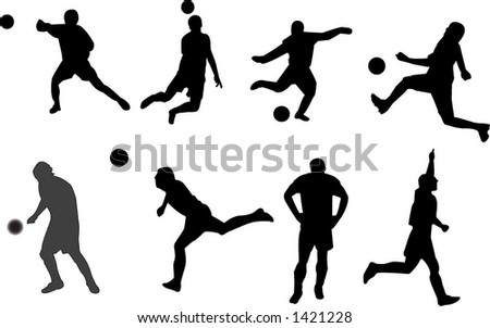 Another tabloid of soccer silhouettes - stock vector