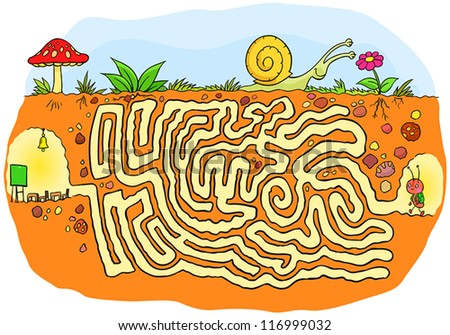 Ant going to school maze game - stock vector