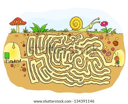 Ant School's Maze Game (help little ant find his school) Maze - stock vector