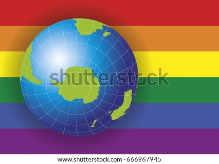 Antarctica south pole map earth globe stock vector 666967945 antarctica and south pole map earth globe over a gay rainbow flag background antarctica gumiabroncs Image collections