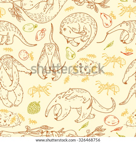 Anteaters (Tamandua) Vector Seamless pattern. Hand Drawn Doodles Anteaters, Ants and Fruits. - stock vector