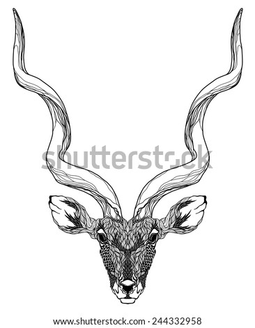 antelope head tattoo psychedelic stock vector 244332958 shutterstock. Black Bedroom Furniture Sets. Home Design Ideas