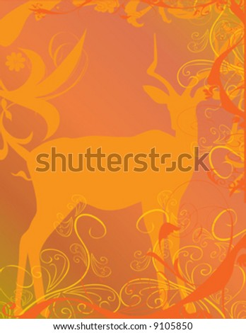 antelope on beautiful orange color background - stock vector