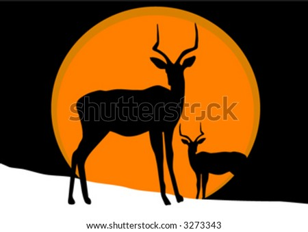 antelope on snow - stock vector