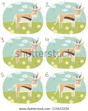 Antelope Puzzle ... Task: Find two identical images (match the pair)! ... Answer: No. 3 and 4 - stock vector