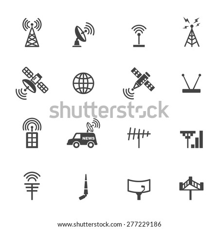 antenna and satellite icons, mono vector symbols - stock vector