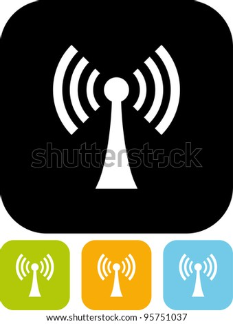 Antenna broadcasting radio signal - Vector icon isolated - stock vector