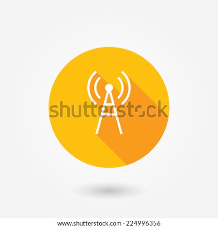 Antenna icon. Flat design style with long shadow. Transmitter icon  - stock vector