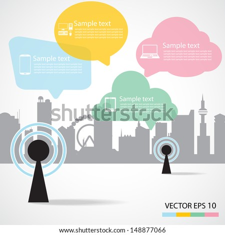 Antenna Satellite dish and city background - stock vector