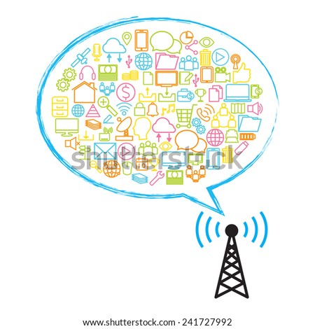Antenna Satellite dish and technology - stock vector