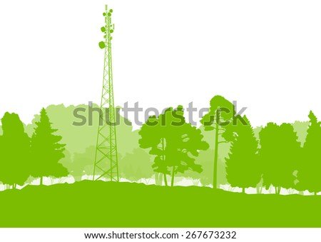 Antenna transmission communication tower vector background green network concept - stock vector