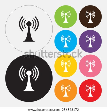 Antenna, Transmitter icon - Vector - stock vector