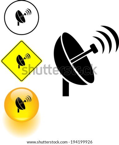 antenna transmitting symbol sign and button - stock vector