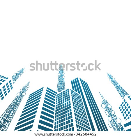 Antennas on buildings in the city - stock vector