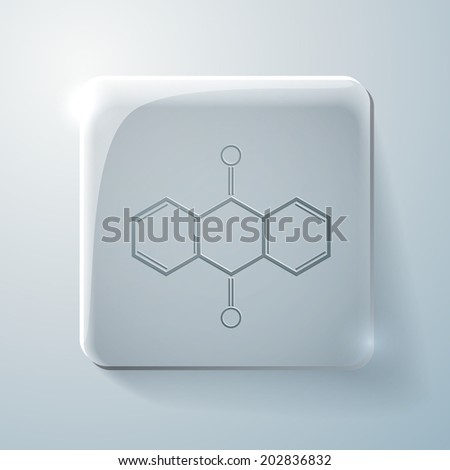 anthraquinone. chemical formula. Glass square icon with highlights - stock vector