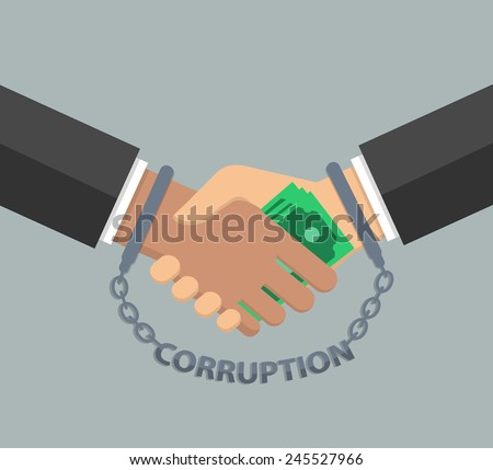 Anti corruption concept in flat style - stock vector