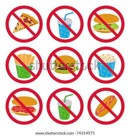 Anti-fast food signs - stock vector