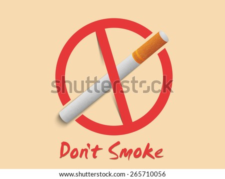 Anti smoking sign and symbol with text Don't Smoke, can be used as poster, banner or flyer for No Smoking Day. - stock vector