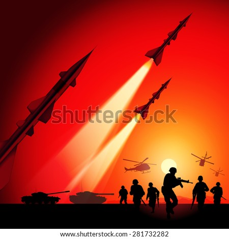 Antiaircraft missiles rockets aimed to the sky. Military tanks, helicopters and soldiers in action. Vector illustration