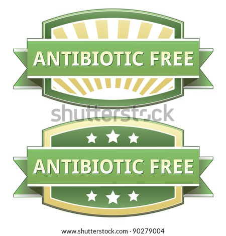 Antibiotic free food label, badge or seal with green and yellow color in vector - stock vector