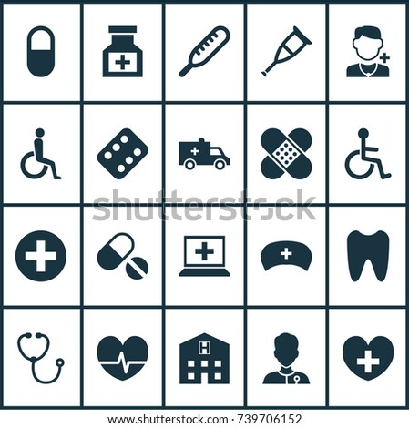 Antibiotic Icons Set. Collection Of Healer, Disabled, Physician And Other Elements. Also Includes Symbols Such As Invalid, Hospital, Rhythm.