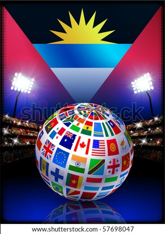 Antigua Flag with Globe on Stadium Background Original Illustration