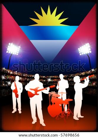 Antigua Flag with Live Music Band on Stadium Background Original Illustration - stock vector