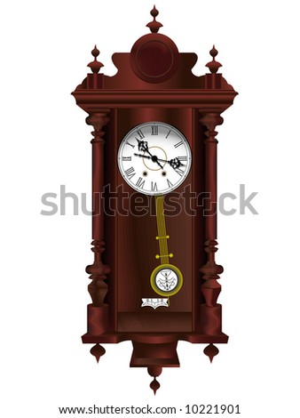 Antiquarian wooden clock with a pendulum in a vector - stock vector