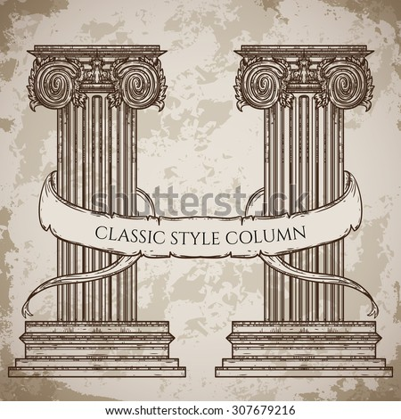 antique and baroque classic style column and ribbon banner vector set vintage architectural details design - Roman Design Architecture