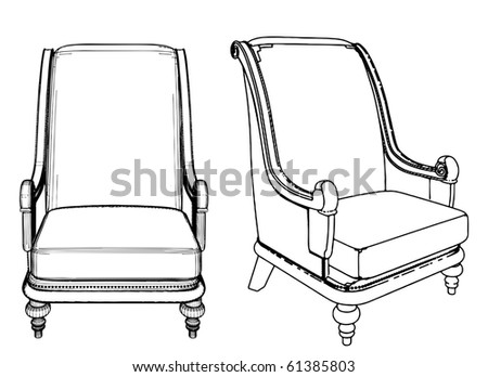 Antique Armchair Vector 09 - stock vector