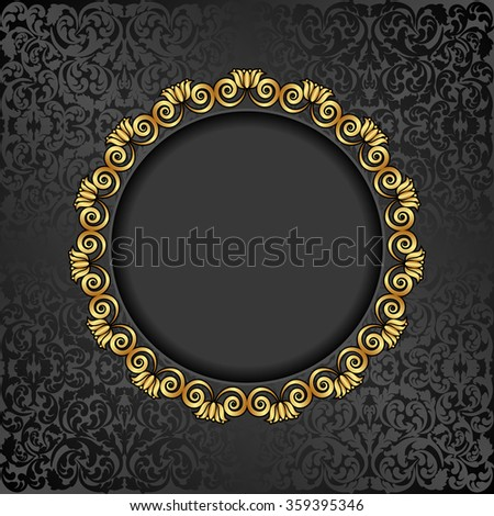 antique background with golden frame - stock vector
