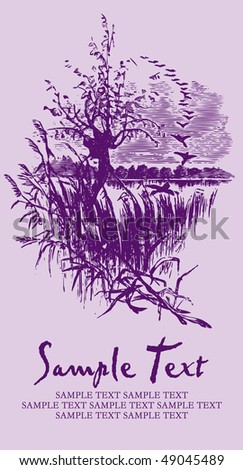 antique background with landscape, scalable and editable vector illustration - stock vector