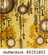 Antique background with manuscript and clocks - stock vector