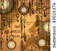 Antique background with map and clocks - stock photo