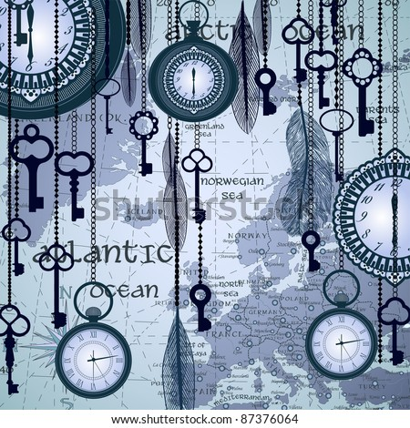 Antique background with map and clocks - stock vector
