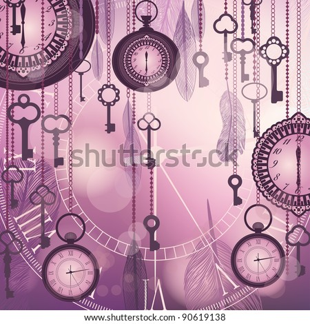 Antique background with pocket watches and feathers - stock vector